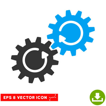 gear box: Gear Mechanism Rotation EPS vector pictogram. Illustration style is flat iconic bicolor blue and gray symbol on white background. Illustration