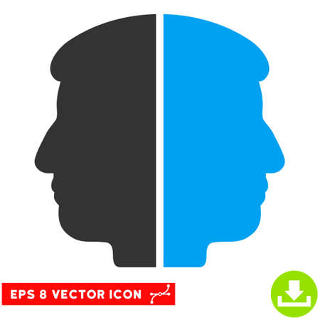 janus: Dual Face EPS vector pictogram. Illustration style is flat iconic bicolor blue and gray symbol on white background.