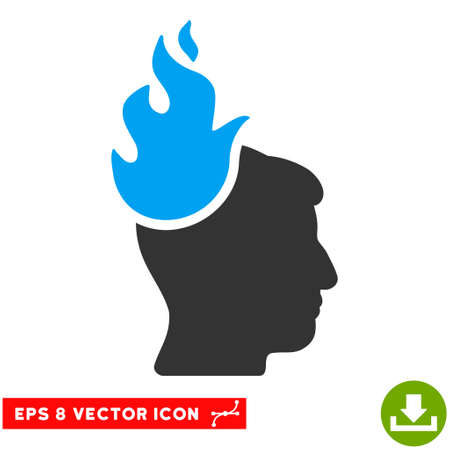 ruch: Fired Head EPS vector pictogram. Illustration style is flat iconic bicolor blue and gray symbol on white background. Illustration