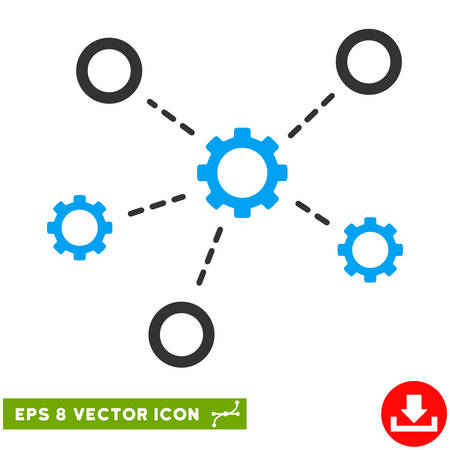Gears Relations EPS vector pictogram. Illustration style is flat iconic bicolor blue and gray symbol on white background.