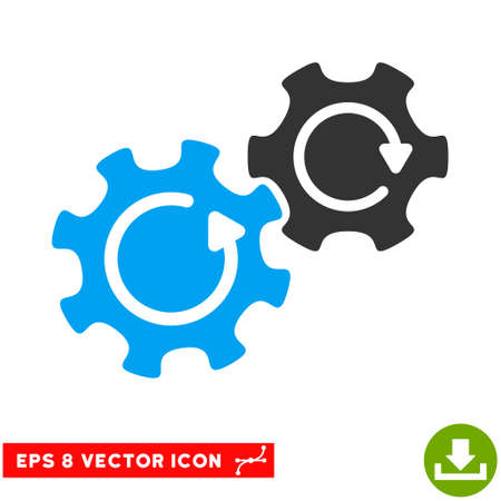 gear box: Gears Rotation EPS vector pictograph. Illustration style is flat iconic bicolor blue and gray symbol on white background.