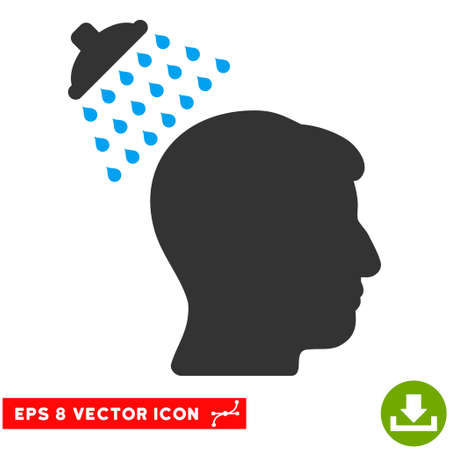Head Shower EPS vector icon. Illustration style is flat iconic bicolor blue and gray symbol on white background. Illustration
