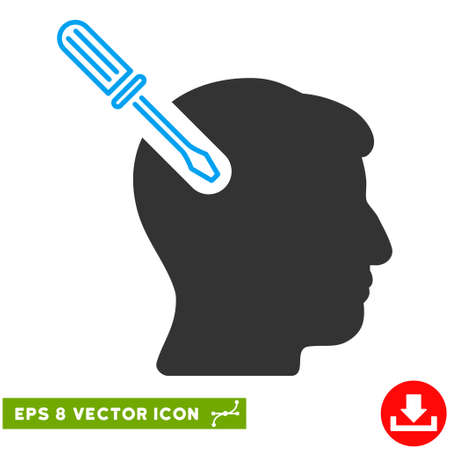 Head Surgery Screwdriver EPS vector pictograph. Illustration style is flat iconic bicolor blue and gray symbol on white background. Illustration