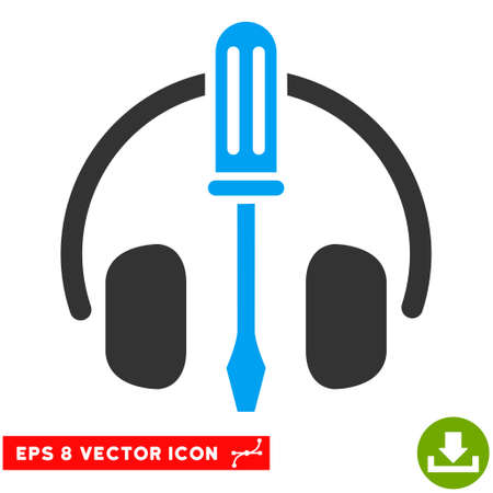 Headphones Tuning Screwdriver EPS vector icon. Illustration style is flat iconic bicolor blue and gray symbol on white background.