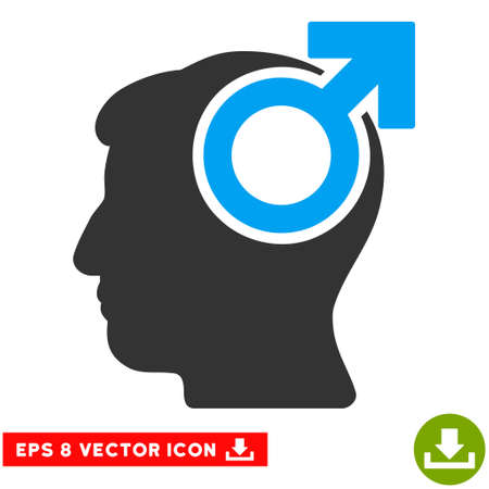potency: Intellect Potency EPS vector pictograph. Illustration style is flat iconic bicolor blue and gray symbol on white background. Illustration