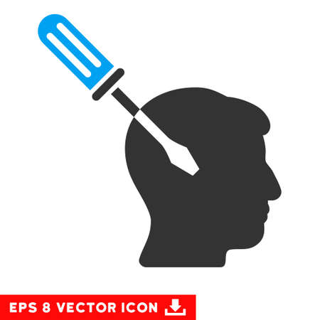 Intellect Screwdriver Tuning EPS vector icon. Illustration style is flat iconic bicolor blue and gray symbol on white background.