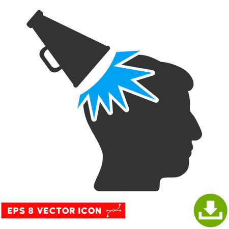 impact: Megaphone Impact Head EPS vector pictograph. Illustration style is flat iconic bicolor blue and gray symbol on white background. Illustration