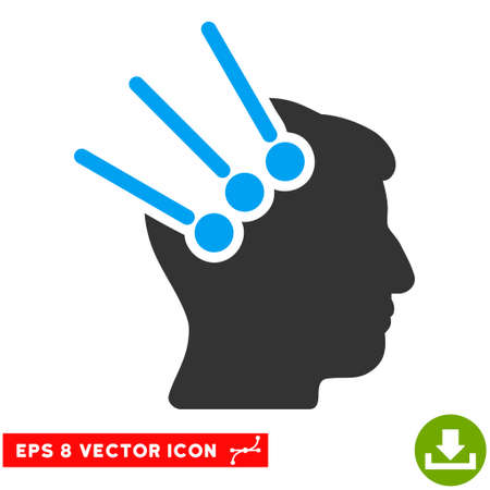 Neural Interface Connectors EPS vector pictogram. Illustration style is flat iconic bicolor blue and gray symbol on white background. Illustration