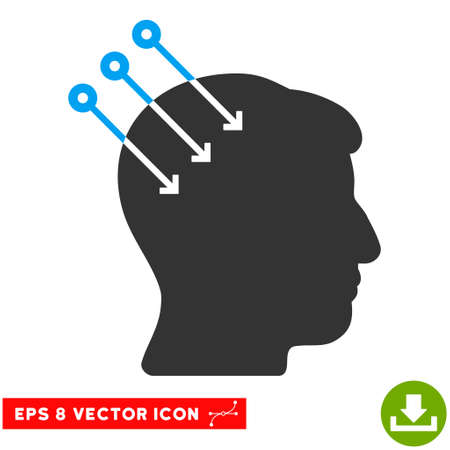 subconscious: Neural Interface Connectors EPS vector pictograph. Illustration style is flat iconic bicolor blue and gray symbol on white background.