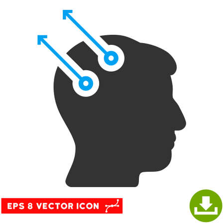 Neural Interface Plugs EPS vector pictogram. Illustration style is flat iconic bicolor blue and gray symbol on white background.