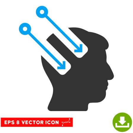 Neural Interface EPS vector pictograph. Illustration style is flat iconic bicolor blue and gray symbol on white background. Illustration