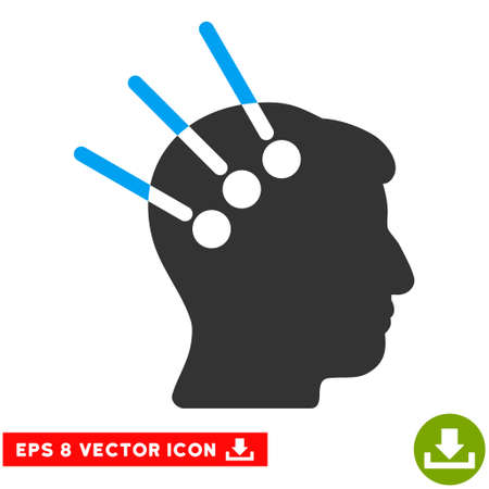 cranial: Neural Interface EPS vector icon. Illustration style is flat iconic bicolor blue and gray symbol on white background.