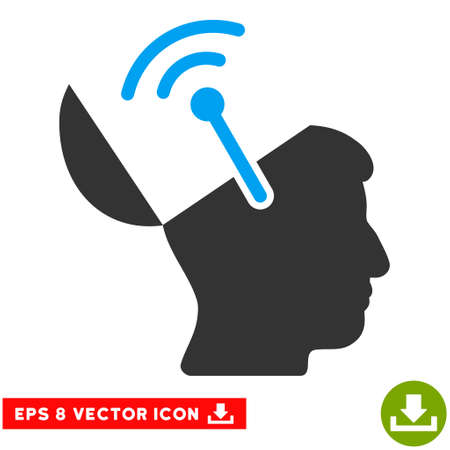 Open Brain Radio Interface EPS vector pictograph. Illustration style is flat iconic bicolor blue and gray symbol on white background.