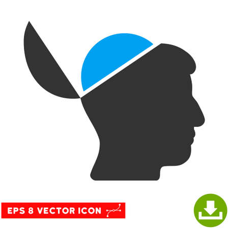 sculp: Open Brain EPS vector icon. Illustration style is flat iconic bicolor blue and gray symbol on white background. Illustration
