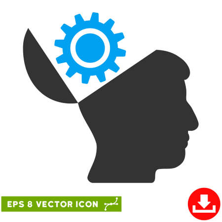 Open Head Gear EPS vector pictogram. Illustration style is flat iconic bicolor blue and gray symbol on white background.