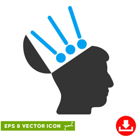 personality: Open Mind Interface EPS vector icon. Illustration style is flat iconic bicolor blue and gray symbol on white background.