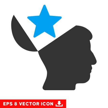 Öffnen Kopf Stern EPS Vektor Piktogramm. Illustration Stil ist flach ikonischen bicolor blau und grau-Symbol auf weißem Hintergrund.