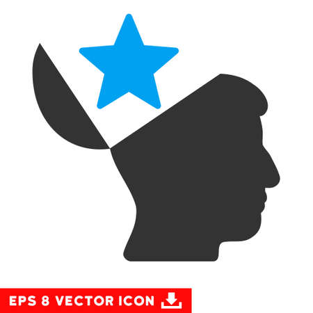 Open Head Star EPS vector pictogram. Illustration style is flat iconic bicolor blue and gray symbol on white background.
