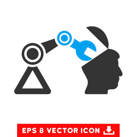 open minded: Open Head Surgery Manipulator EPS vector icon. Illustration style is flat iconic bicolor blue and gray symbol on white background.