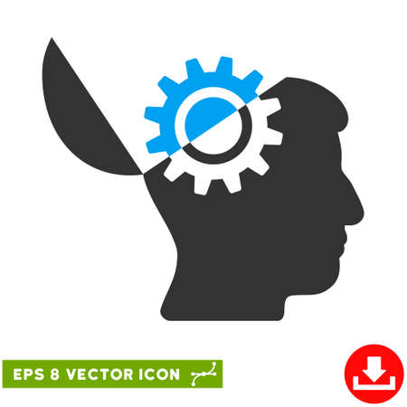 open mind: Open Mind Gear EPS vector pictograph. Illustration style is flat iconic bicolor blue and gray symbol on white background.
