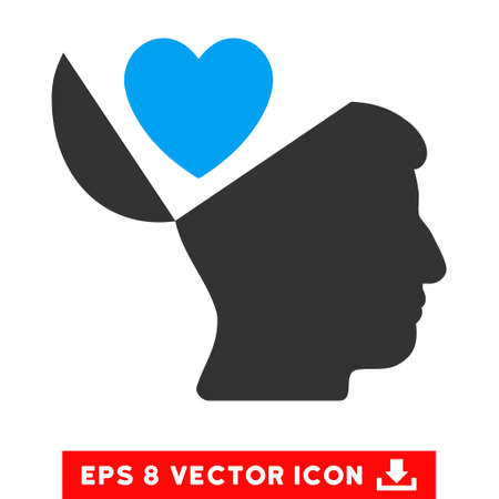 open mind: Open Mind Love Heart EPS vector pictogram. Illustration style is flat iconic bicolor blue and gray symbol on white background.