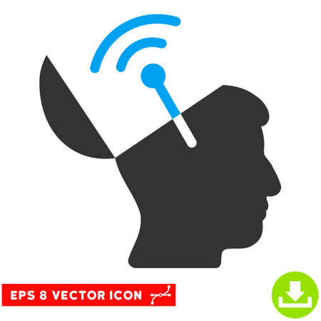 cerebra: Open Mind Radio Interface EPS vector icon. Illustration style is flat iconic bicolor blue and gray symbol on white background.