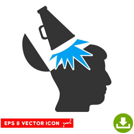 open mind: Open Mind Megaphone EPS vector pictogram. Illustration style is flat iconic bicolor blue and gray symbol on white background.