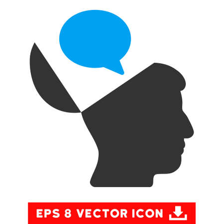 open mind: Open Mind Opinion EPS vector pictogram. Illustration style is flat iconic bicolor blue and gray symbol on white background. Illustration