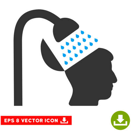 open mind: Open Mind Shower EPS vector icon. Illustration style is flat iconic bicolor blue and gray symbol on white background.