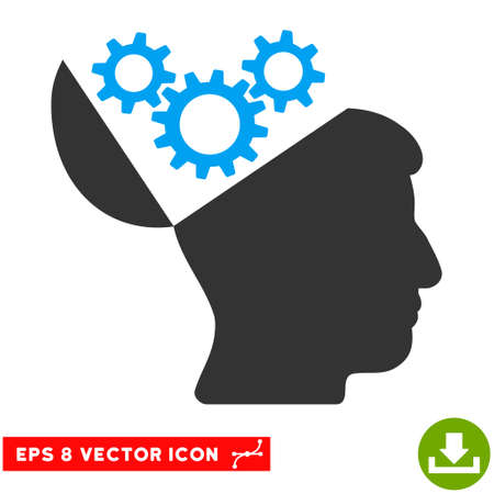 open mind: Open Mind Gears EPS vector pictogram. Illustration style is flat iconic bicolor blue and gray symbol on white background.