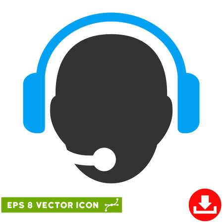 Operator Head EPS vector pictogram. Illustration style is flat iconic bicolor blue and gray symbol on white background.
