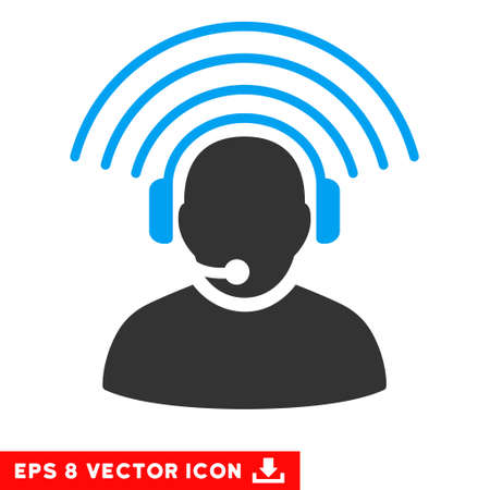 Operator Radio Signal EPS vector pictograph. Illustration style is flat iconic bicolor blue and gray symbol on white background.