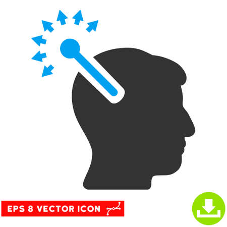 Optical Neural Interface EPS vector pictograph. Illustration style is flat iconic bicolor blue and gray symbol on white background.
