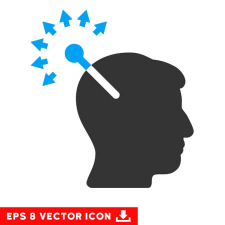 neural: Optical Neural Interface EPS vector pictogram. Illustration style is flat iconic bicolor blue and gray symbol on white background. Illustration