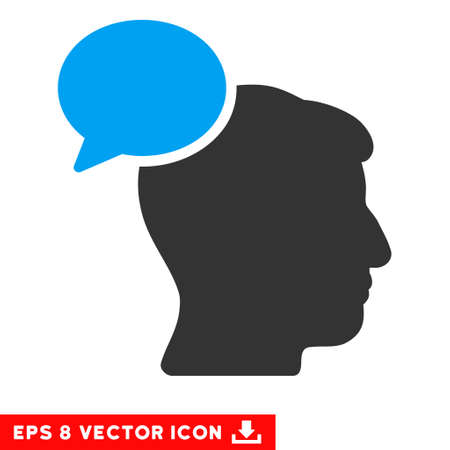 hominid: Person Idea EPS vector pictograph. Illustration style is flat iconic bicolor blue and gray symbol on white background. Illustration