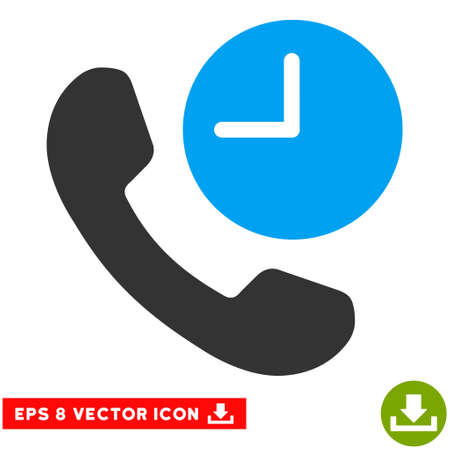 phone time: Phone Time EPS vector icon. Illustration style is flat iconic bicolor blue and gray symbol on white background.
