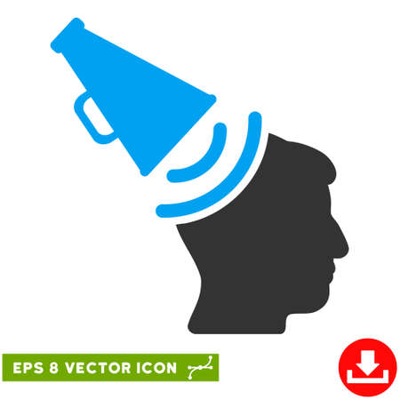 Propaganda Megaphone EPS vector pictograph. Illustration style is flat iconic bicolor blue and gray symbol on white background. Illustration