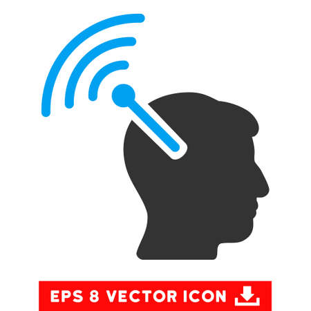 neural: Radio Neural Interface EPS vector pictograph. Illustration style is flat iconic bicolor blue and gray symbol on white background.