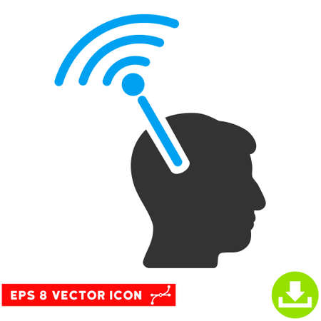 neural: Radio Neural Interface EPS vector pictogram. Illustration style is flat iconic bicolor blue and gray symbol on white background.