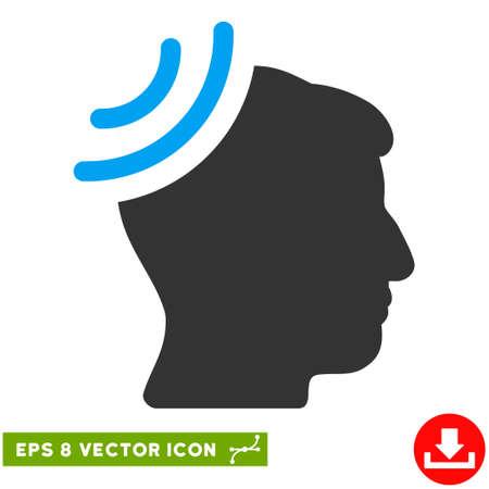 Radio Reception Brain EPS vector pictogram. Illustration style is flat iconic bicolor blue and gray symbol on white background. Illustration