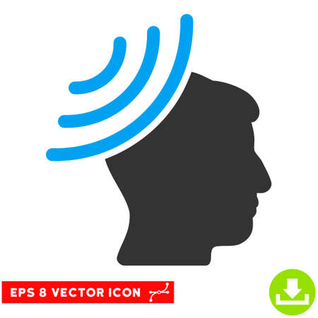 Radio Reception Mind EPS vector icon. Illustration style is flat iconic bicolor blue and gray symbol on white background.
