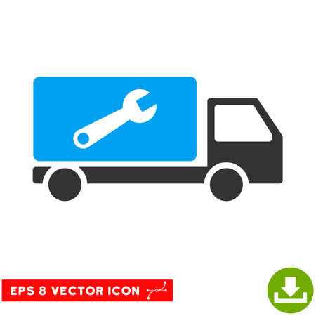eps vector icon: Service Car EPS vector icon. Illustration style is flat iconic bicolor blue and gray symbol on white background.