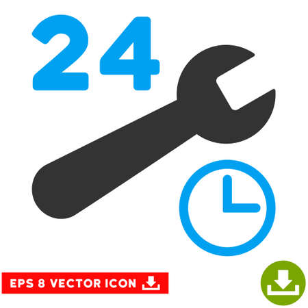 nonstop: Service Hours EPS vector pictogram. Illustration style is flat iconic bicolor blue and gray symbol on white background.