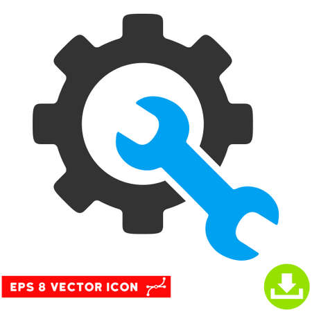 power wrench: Service Tools EPS vector pictograph. Illustration style is flat iconic bicolor blue and gray symbol on white background. Illustration