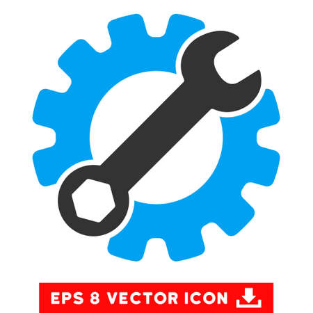 Service Tools EPS vector pictograph. Illustration style is flat iconic bicolor blue and gray symbol on white background. Illustration