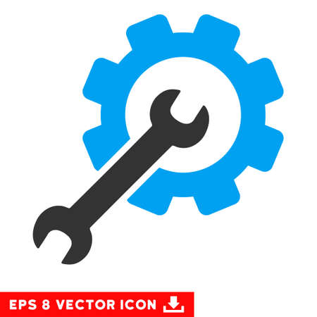 Setup Tools EPS vector icon. Illustration style is flat iconic bicolor blue and gray symbol on white background.