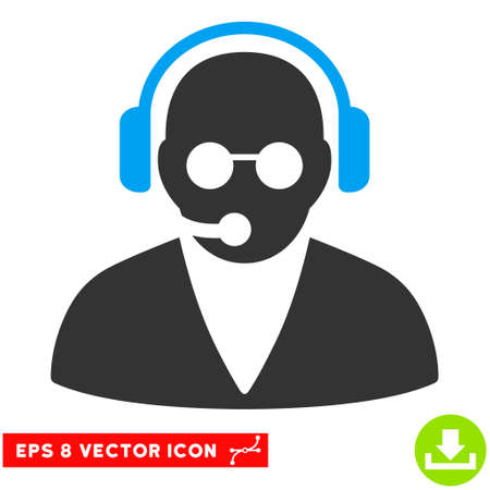 eps vector icon: Support Operator EPS vector icon. Illustration style is flat iconic bicolor blue and gray symbol on white background.