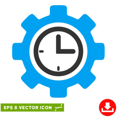 Time Setup Gear EPS vector pictogram. Illustration style is flat iconic bicolor blue and gray symbol on white background.