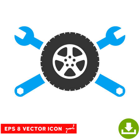 Tire Service Wrenches EPS vector icon. Illustration style is flat iconic bicolor blue and gray symbol on white background. Illustration