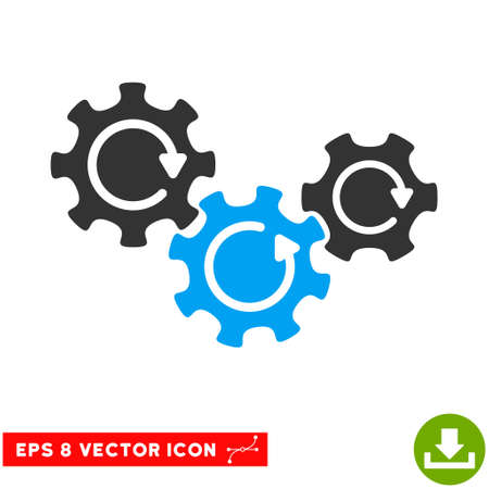 gear box: Transmission Gears Rotation EPS vector pictogram. Illustration style is flat iconic bicolor blue and gray symbol on white background.